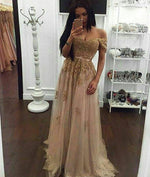 gold sequin lace off shoulder tulle long prom dress, evening dress