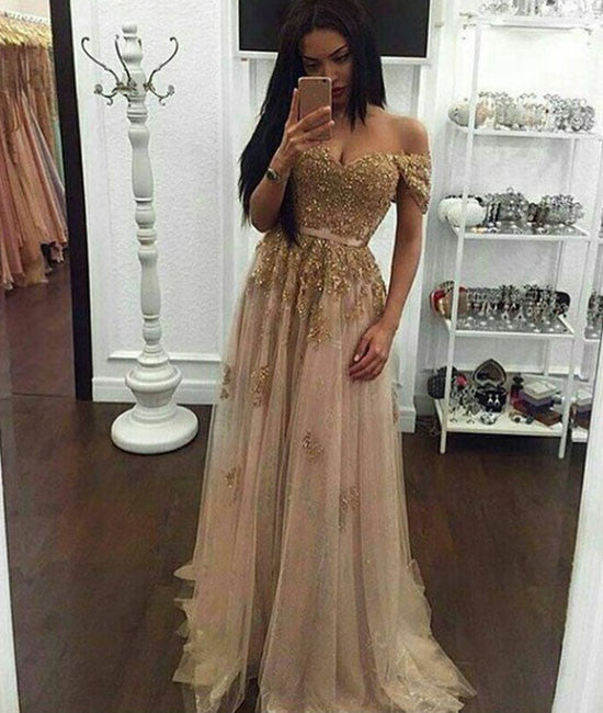 5b382db3b748 gold sequin lace off shoulder tulle long prom dress, evening dress - shdress