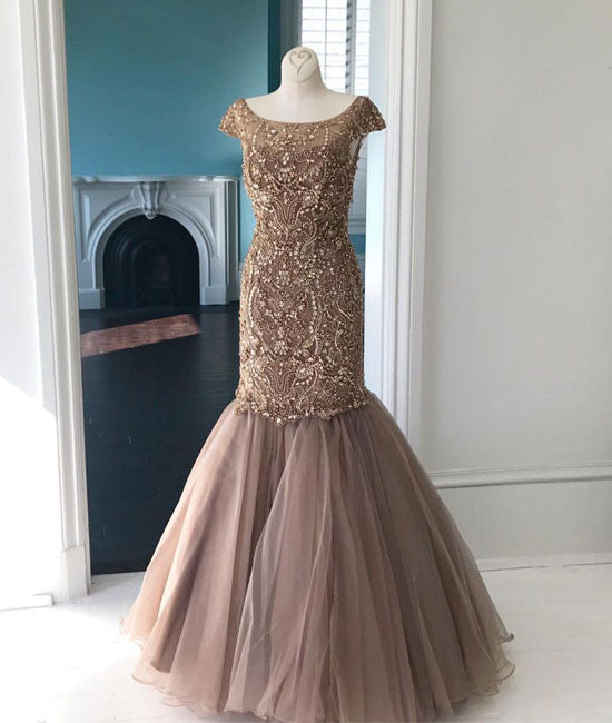 Unique round neck tulle sequin beads mermaid long prom dress, champagne evening dress