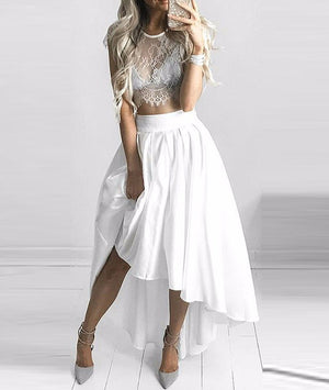 unique two pieces lace prom dress, white evening dress - shdress