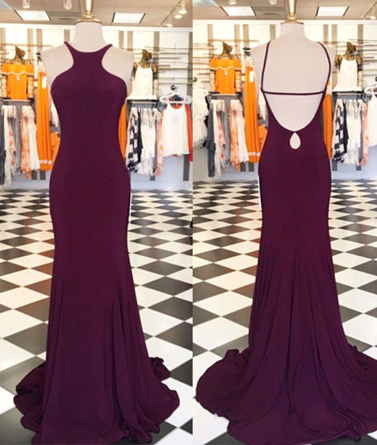 Simple Burgundy long prom dress, burgundy evening dress - shdress