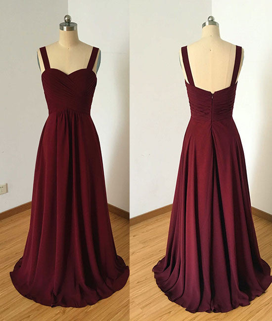 Simple sweetheart burgundy long prom dress, burgundy evening dress - shdress
