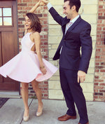Simple pink short prom dress, cute homecoming dress