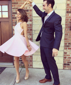 Simple pink short prom dress, cute homecoming dress - shdress