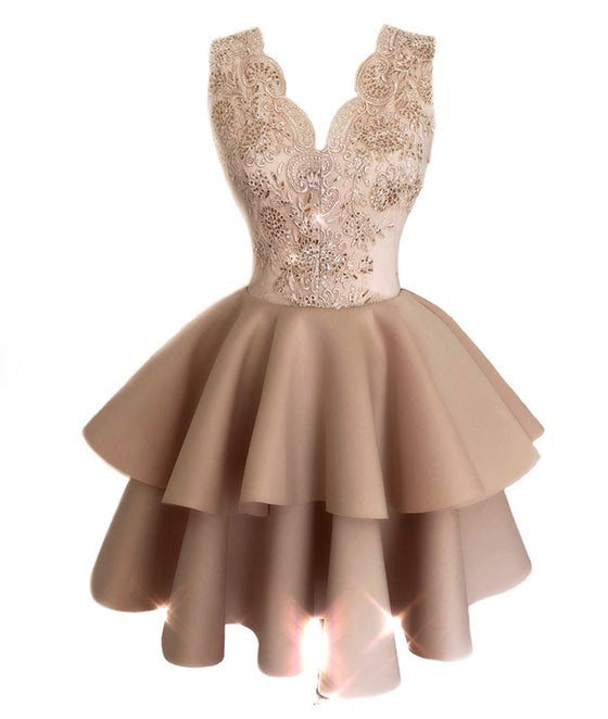 Champagne lace satin short prom dress, lace homecoming dress