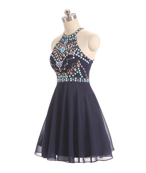 Dark blue beads short prom dress, cute dark blue homecoming dress - shdress