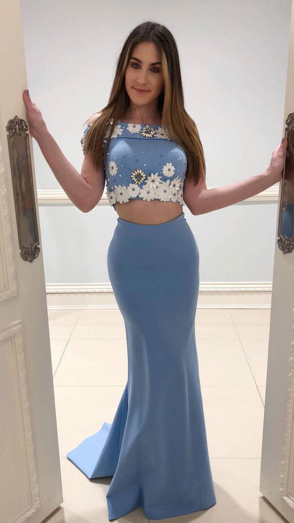Blue two pieces mermaid long prom dress, blue evening dress - shdress