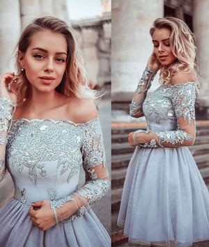 Gray lace tulle short prom dress, gray lace tulle homecoming dress - shdress