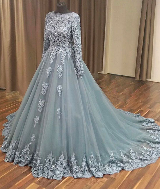 Gray tulle lace applique long prom dress, gray evening dress - shdress