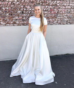Simple white long prom dress, white satin long evening dress - shdress