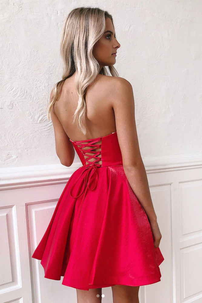 Simple sweetheart neck red short prom dress, red homecoming dress