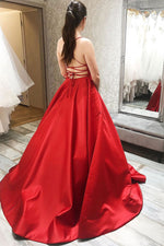 Simple red satin long prom dress red backless evening dress