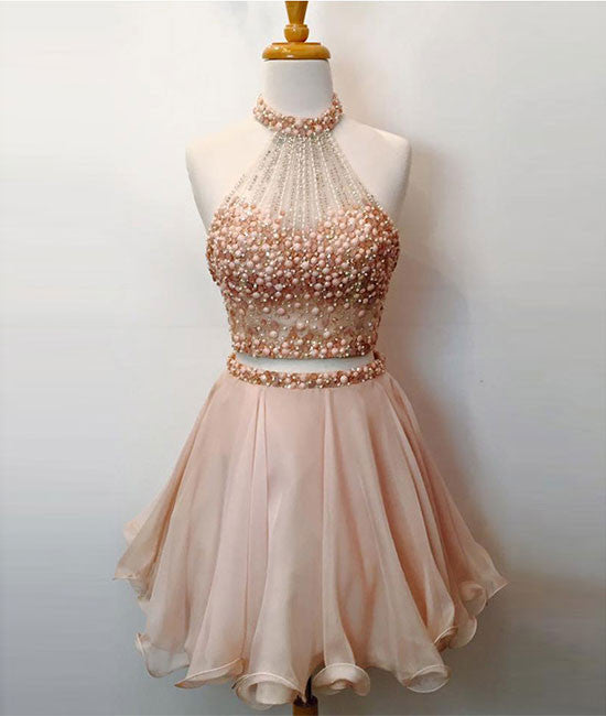 Cute two pieces short prom dress, cute homecoming dress