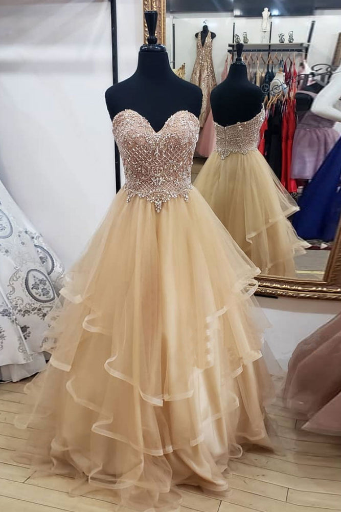 Champagne tulle sweetheart long prom dress, champagne evening dress