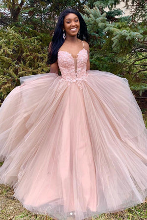 Pink tulle long prom dress, pink tulle evening dress