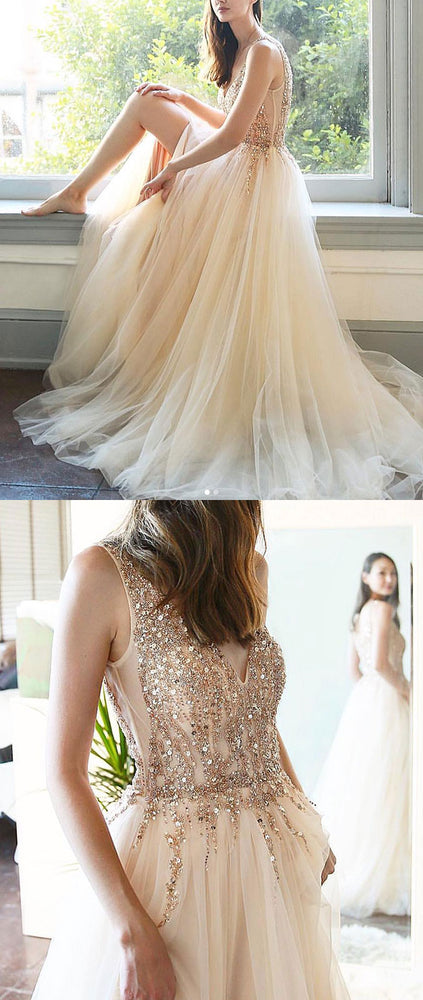 Champagne v neck tulle sequin long prom dress, champagne evening dress - shdress