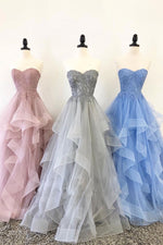 Unique sweetheart tulle lace long prom dress, tulle evening dress