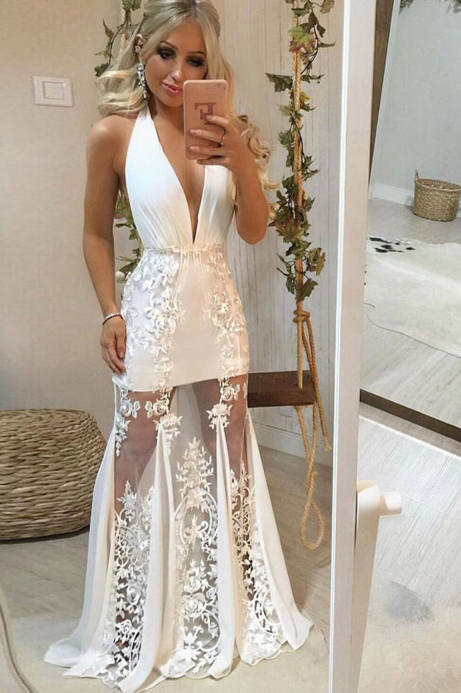 White v neck tulle lace long prom dress, white lace evening dress