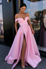 Simple pink off shoulder satin long prom dress pink evening dress