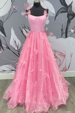 Pink tulle applique long prom dress pink formal dress