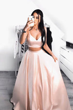 Simple pink two pieces long prom dress pink formal dress