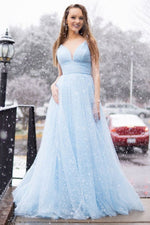 Simple blue tulle long prom dress tulle evening dress