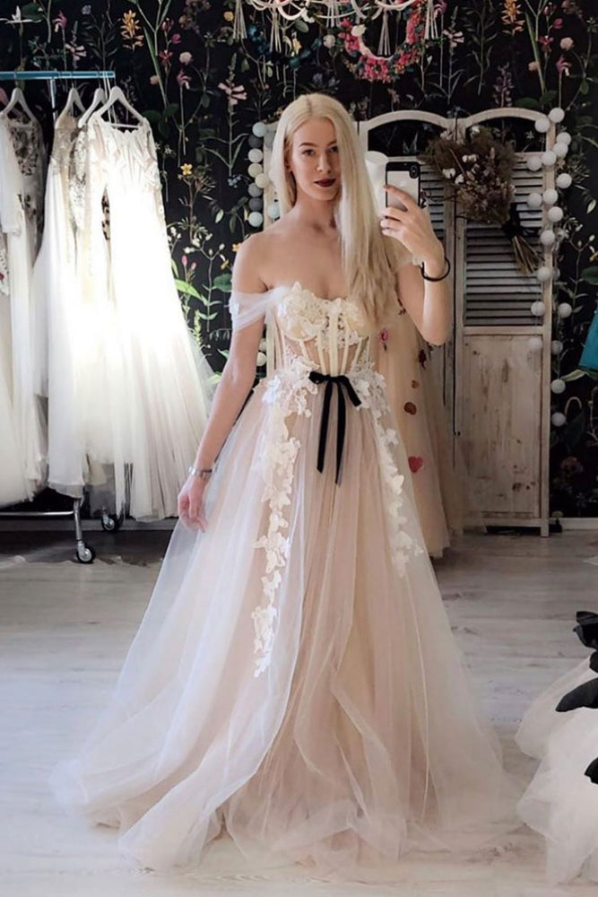 Light pink tulle off shoulder lace long prom dress tulle formal dress