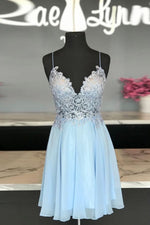 blue sweetheart chiffon lace short prom dress blue homecoming dress