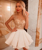 White lace short prom dress, white homecoming dress