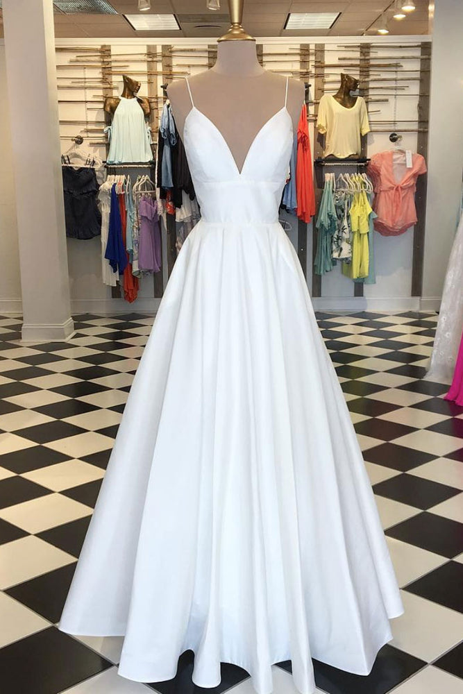Simple white v neck satin long prom dress white evening dress