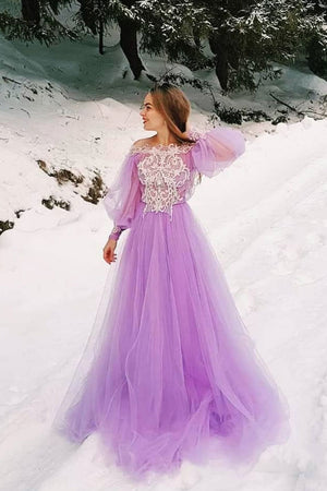 Purple tulle lace long prom dress, purple evening dress