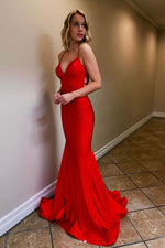 Red v neck satin mermaid long prom dress red long formal dress