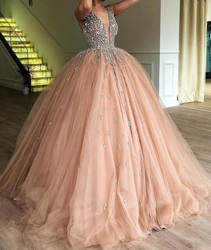 Champagne v neck tulle beads long prom dress, tulle evening dress