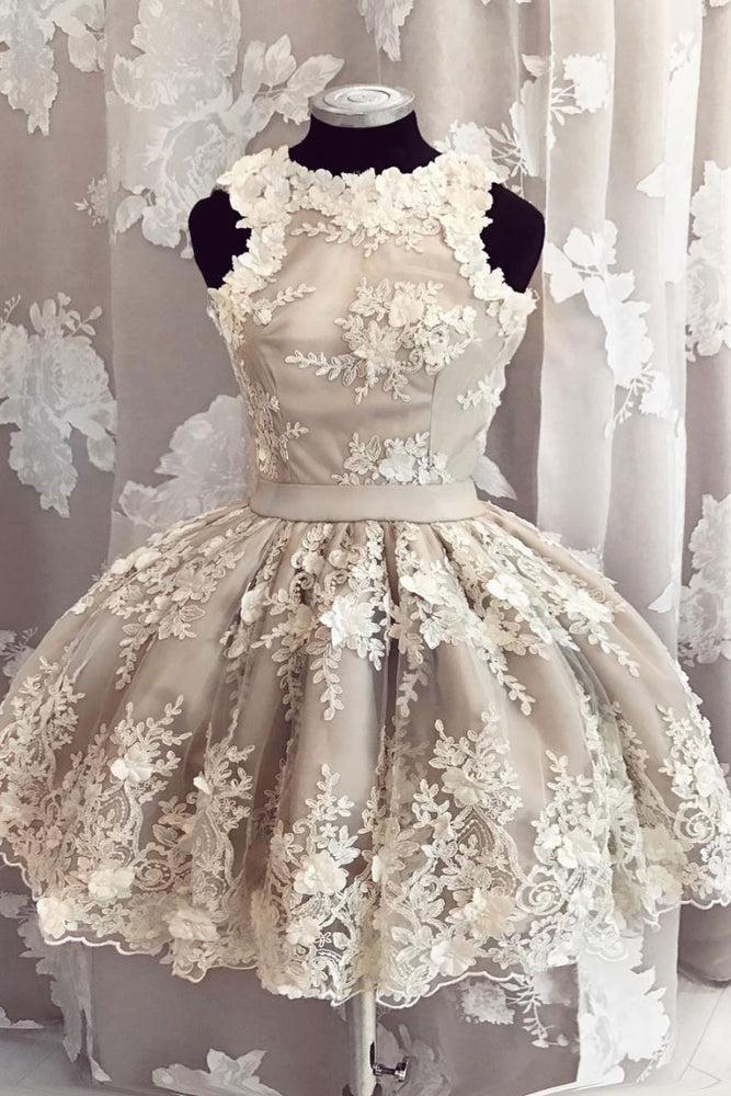 Unique tulle lace applique short prom dress, lace homecoming dress