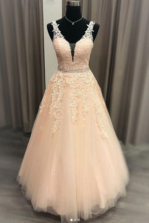 Pink v neck tulle lace long prom dress pink evening dress