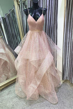 Unique v neck tulle sequin long prom dress sequin formal dress