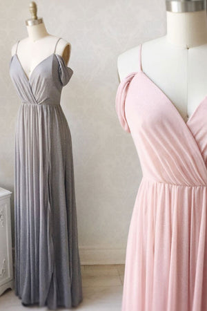 Simple gray chiffon long prom dress chiffon bridesmaid dress