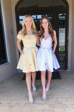 Cute satin short prom dress, yellow homecoming dress