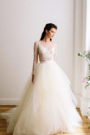 White round neck two pieces lace tulle long prom dress wedding dress