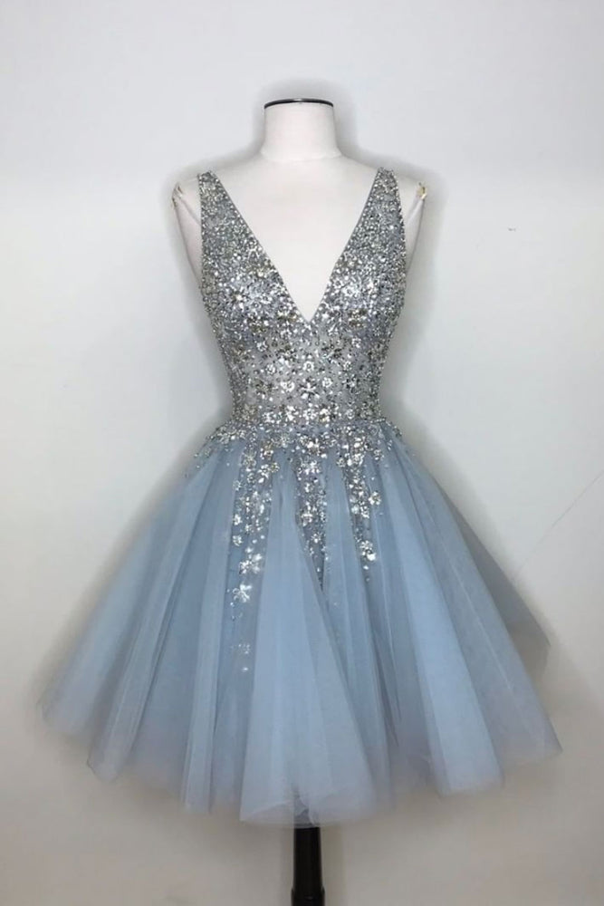 Blue v neck tulle sequin short prom dress, blue homecoming dress