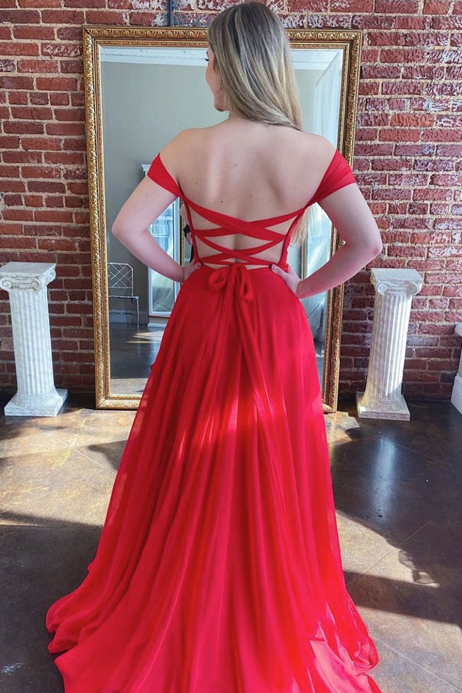 Simple red sweetheart chiffon long prom dress red evening dress
