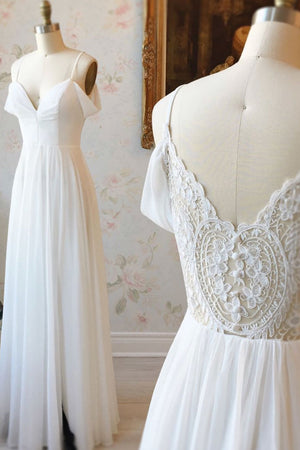Simple white off shoulder chiffon lace long prom dress evening dress