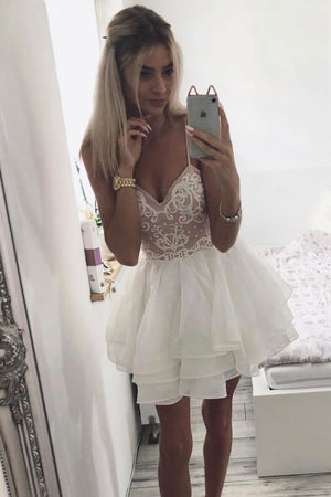 White sweetheart neck lace short prom dress, white homecoming dress - shdress