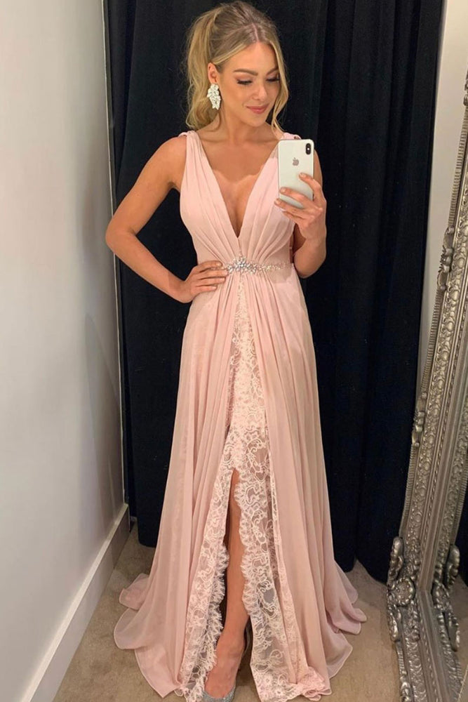 Pink v neck chiffon lace long prom dress, pink evening dress