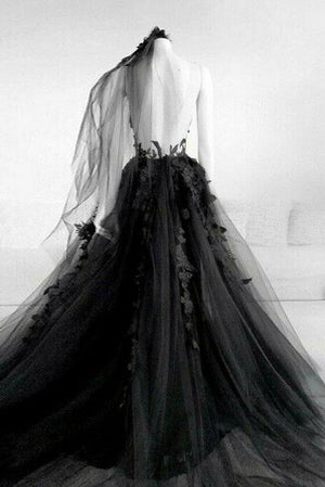 Black round neck tulle lace long prom dress black tulle formal dress