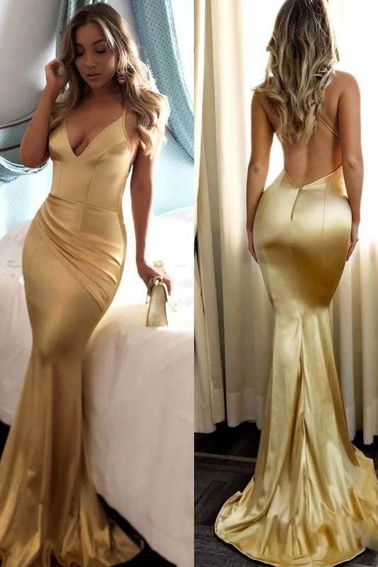 Simple gold satin mermaid long prom dress gold evening dress