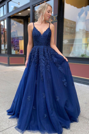 Blue lace tulle long prom dress blue lace formal dress