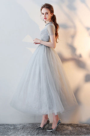 Gray tulle lace tea length prom dress gray tulle formal dress