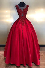 Burgundy round neck lace satin long prom dress burgundy evening dress