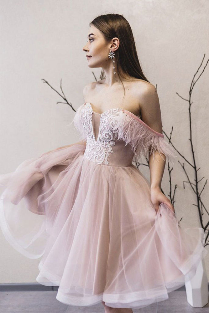 Pink sweetheart tulle lace short prom dress pink lace formal dress
